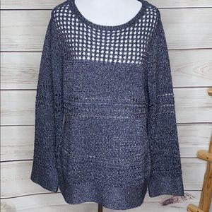 Chico's Metallic Blue Cable Knit Sweater Size 1